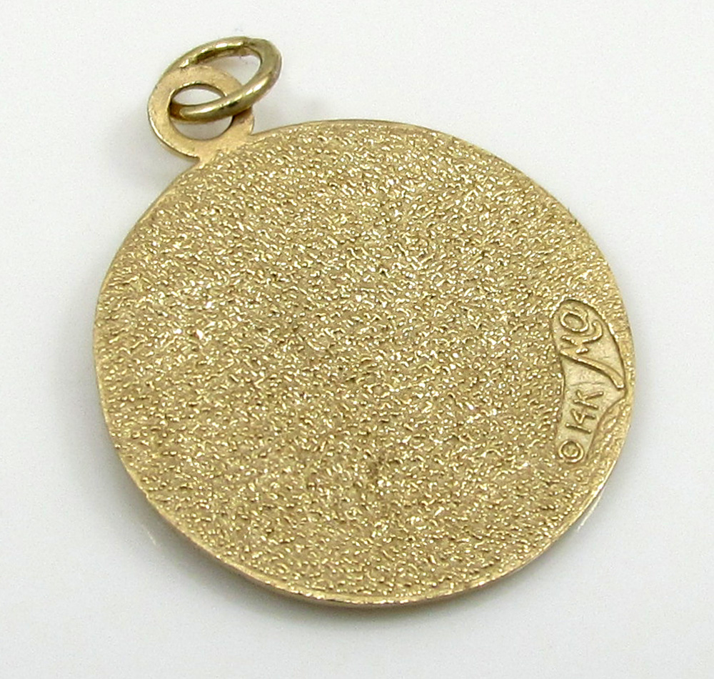 14k yellow gold mini saint christopher protect us coin pendant