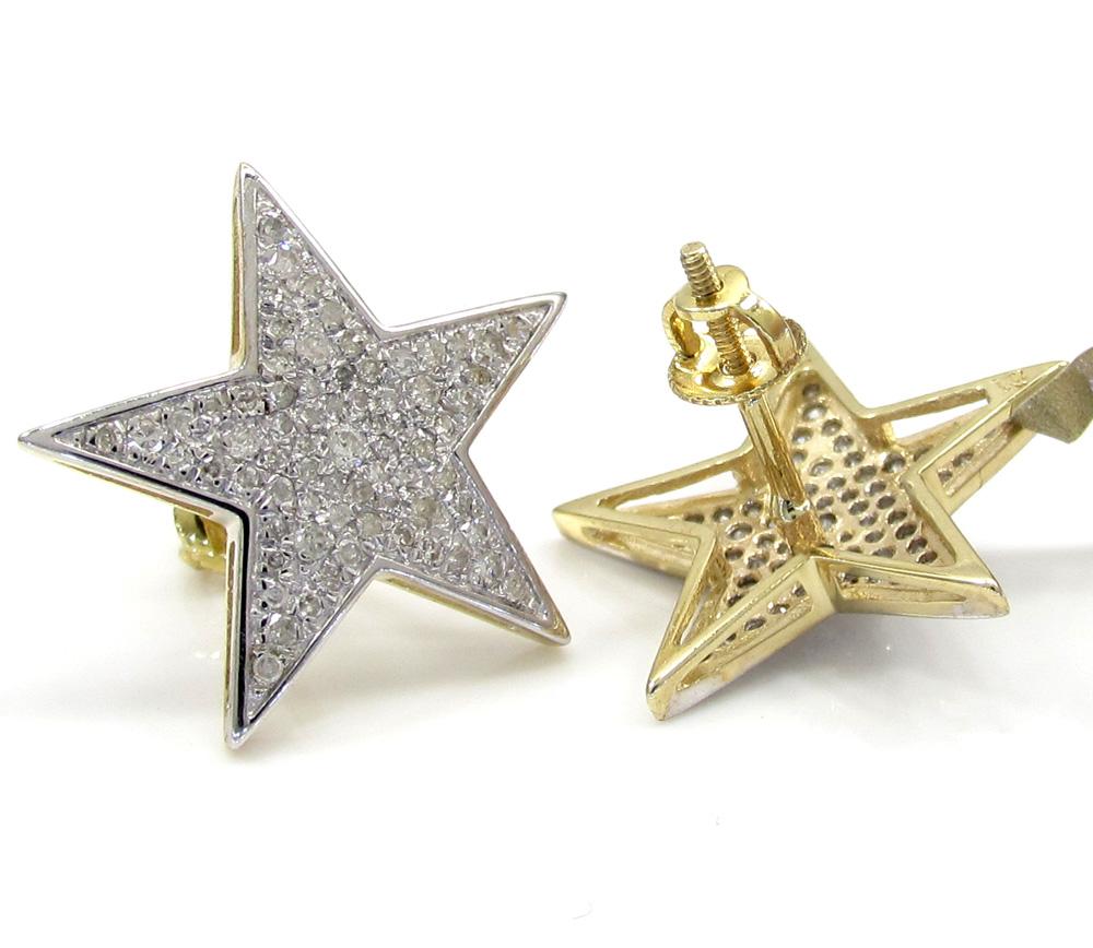 10k yellow gold fancy diamond star earrings 0.53ct