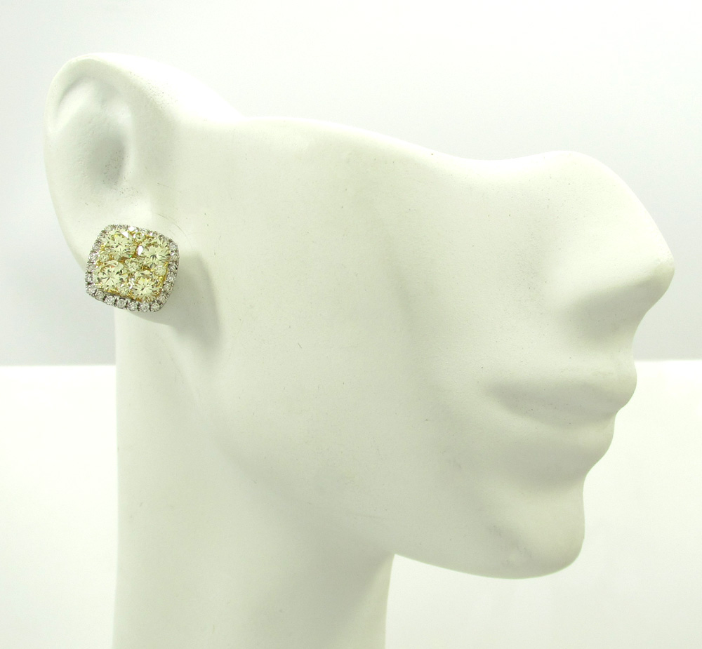 18k white gold natural canary diamond earrings 3.40ct