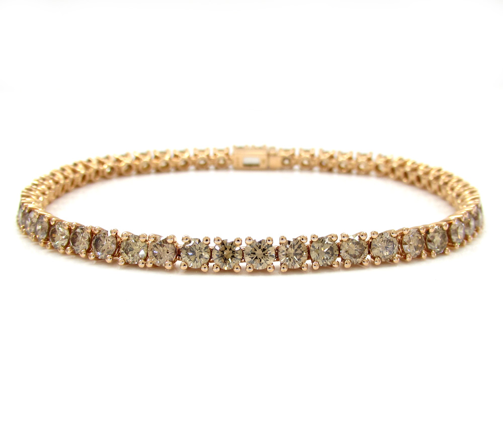 18k rose gold champagne diamonds tennis bracelet 7 inch 6.83ct