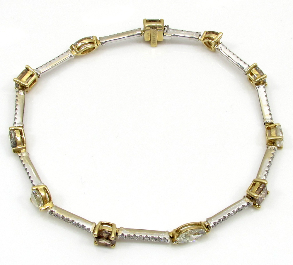 18k white and yellow gold ladies multi diamond tennis bracelet 7.50 inch 5.68ct