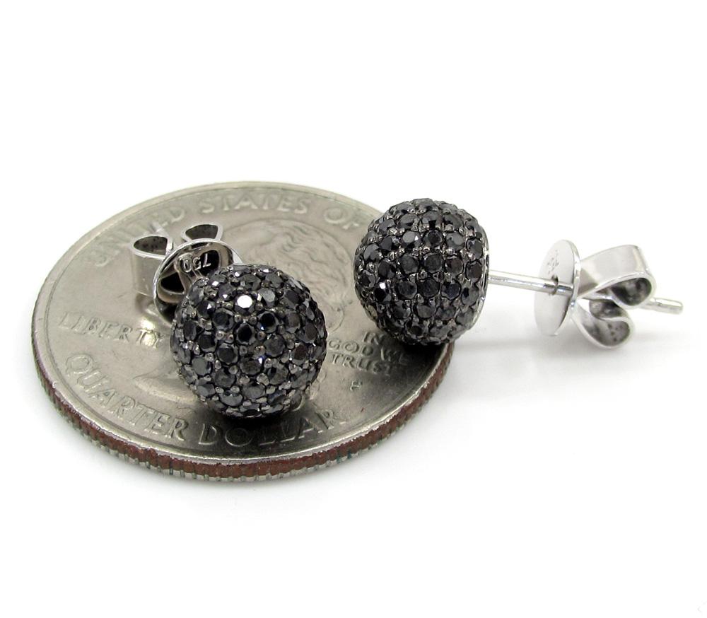 18k white gold black diamond sphere earrings 1.30ct