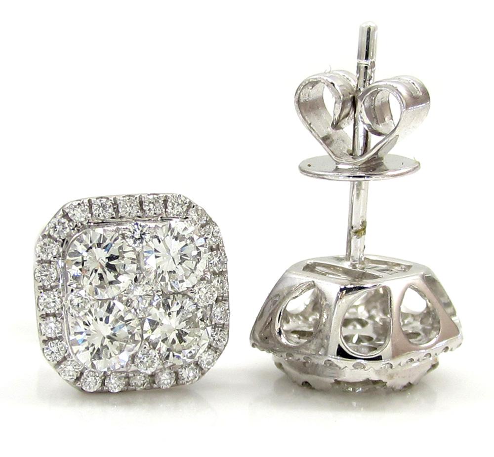 18k white gold fancy diamond cluster earrings 1.21ct
