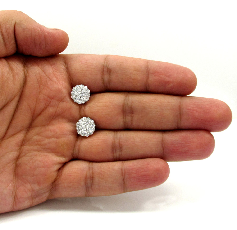 18k white gold fancy dome shaped cluster earrings 2.21ct