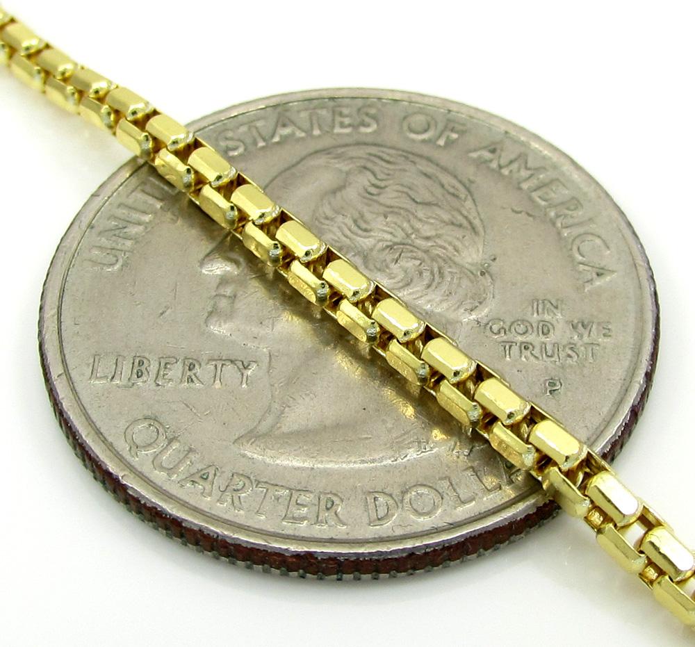10k yellow gold diamond cut hexagon box chain 20-24 inch 2.3mm