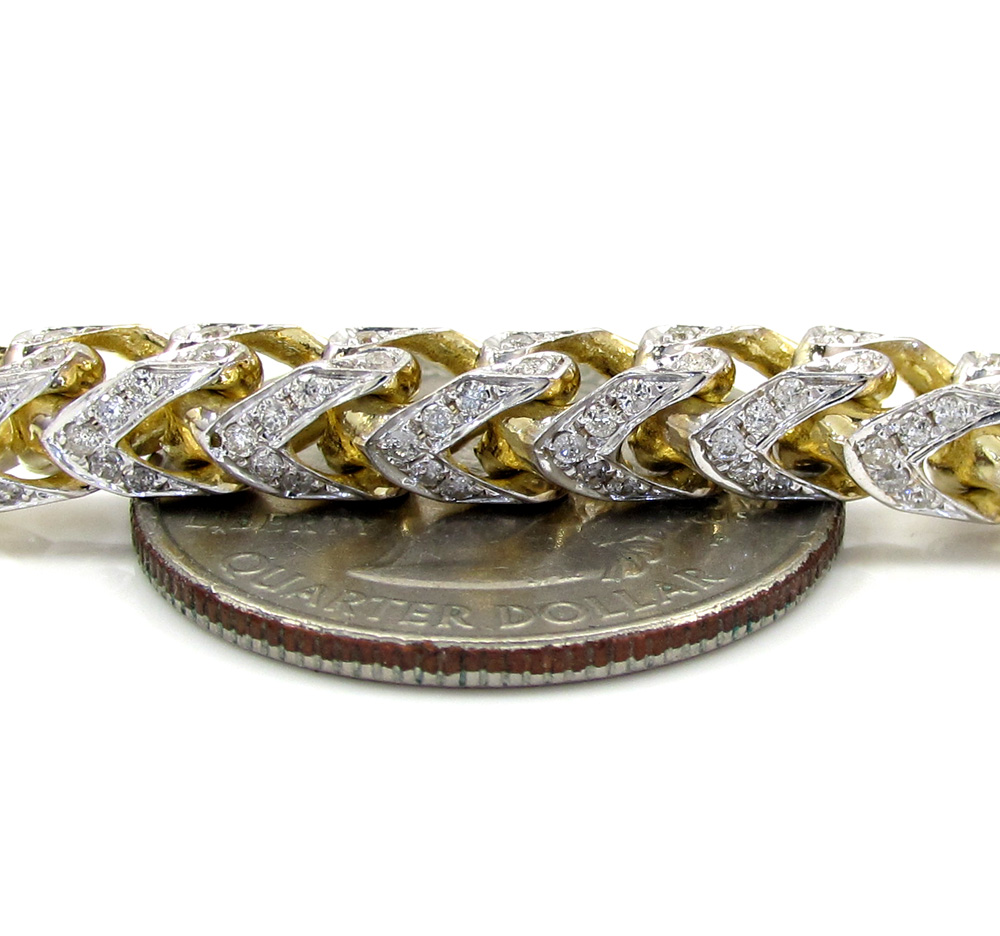 10k yellow gold two tone fully iced diamond franco chain 26 inch 6mm