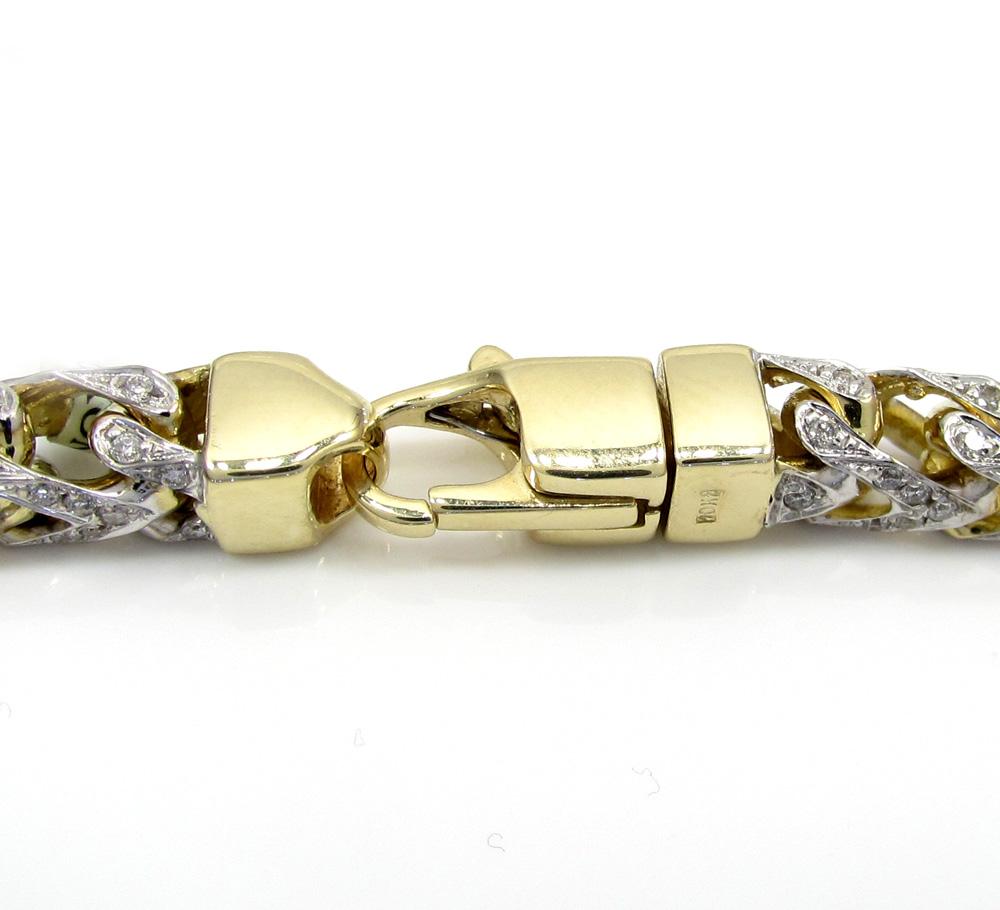10k yellow gold two tone fully iced diamond franco bracelet 9 inch 5.2mm
