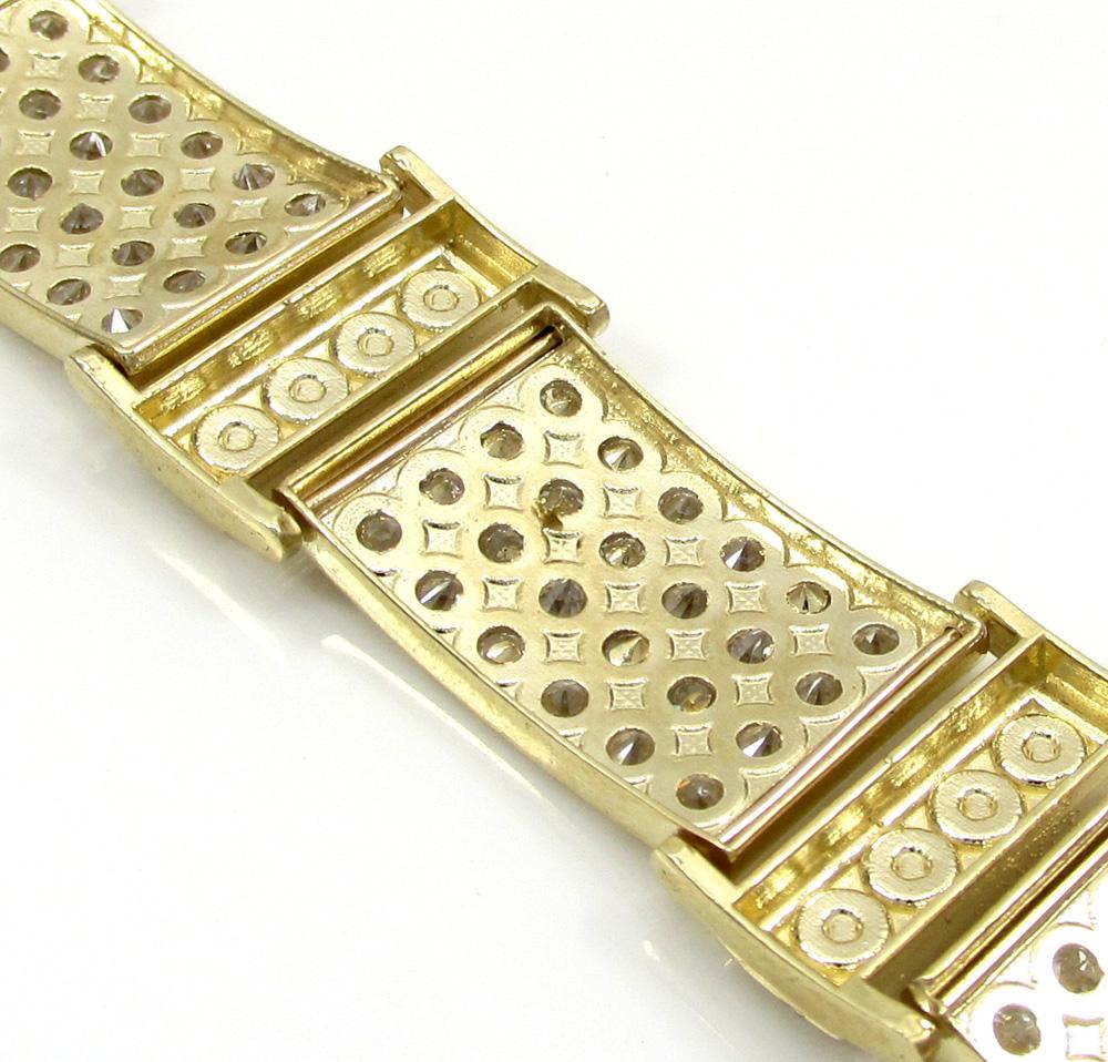 10k yellow gold medium 4x6 iced out cz screw bracelet 6.00ct
