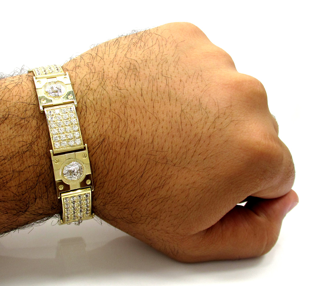 10k yellow gold medium 4x6 iced out cz lion cross bracelet 6.00ct