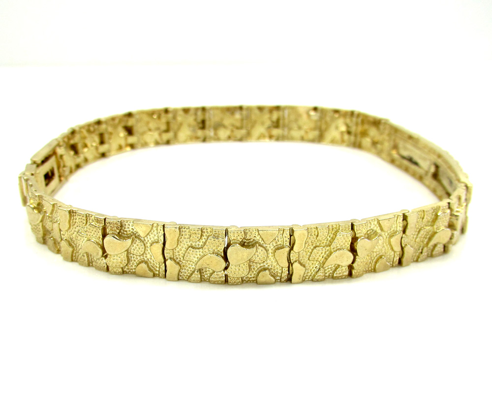 10k yellow gold medium engrave-able id nugget bracelet