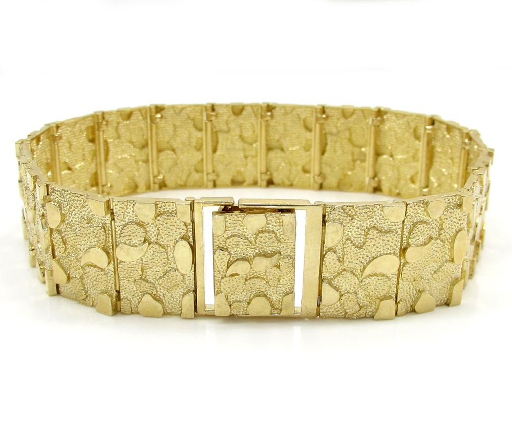 10k yellow gold large nugget bracelet