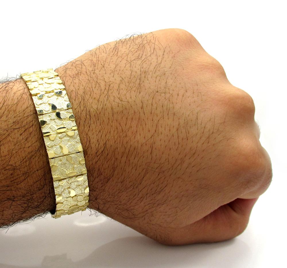 "WOMENS DIAMOND CUT TEXTURED NUGGET 10K GOLD 7/"" BRACELET"