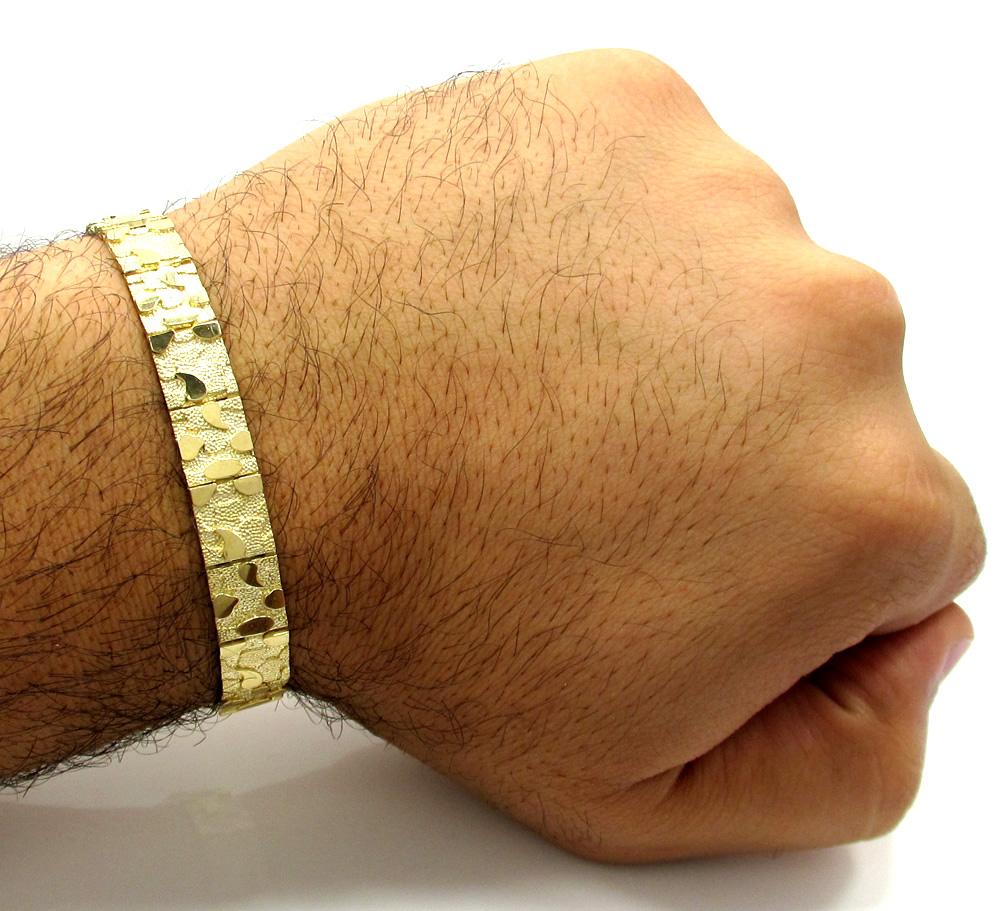 10k yellow gold small nugget bracelet 8.50 inch