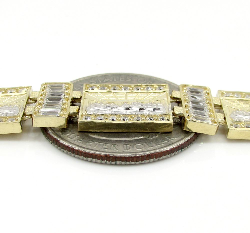 10k yellow gold cz jesus and the twelve disciples bracelet 3.00ct
