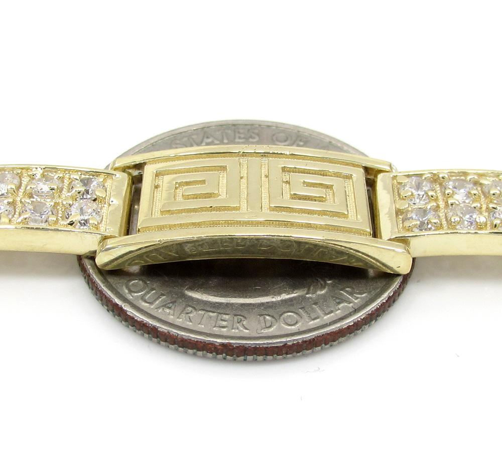 10k yellow gold 2x6 iced out cz fancy maze bracelet 4.00ct
