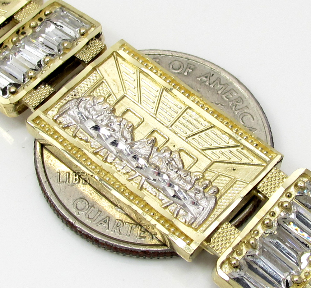 10k yellow gold large cz baguette jesus and the twelve disciples bracelet 1.25ct
