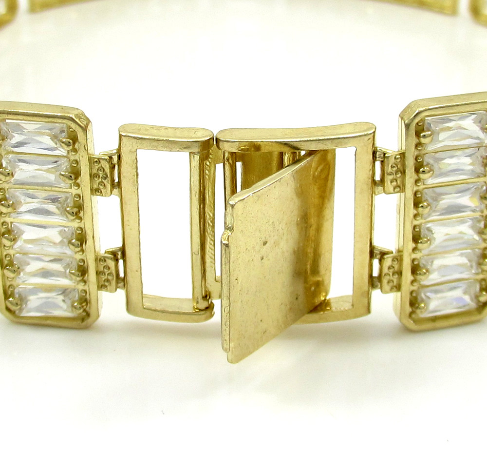 10k yellow gold xl cz jesus and the twelve disciples bracelet 5.00ct