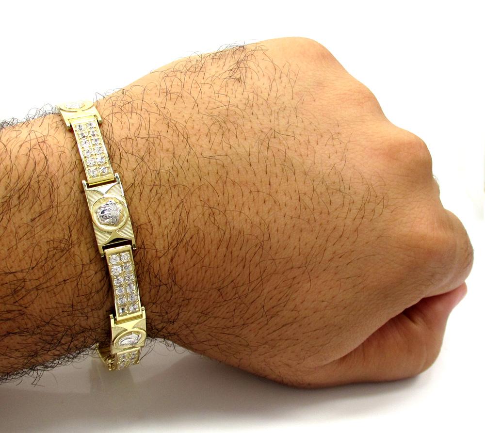 10k yellow gold 2x6 two tone cz fancy medusa bracelet 3.00ct