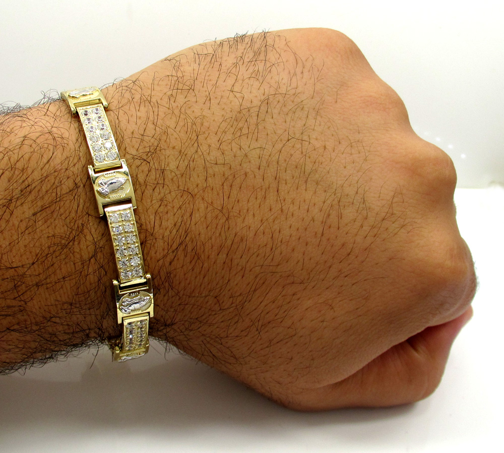 10k yellow gold 2x6 two tone cz praying hands bracelet 3.00ct