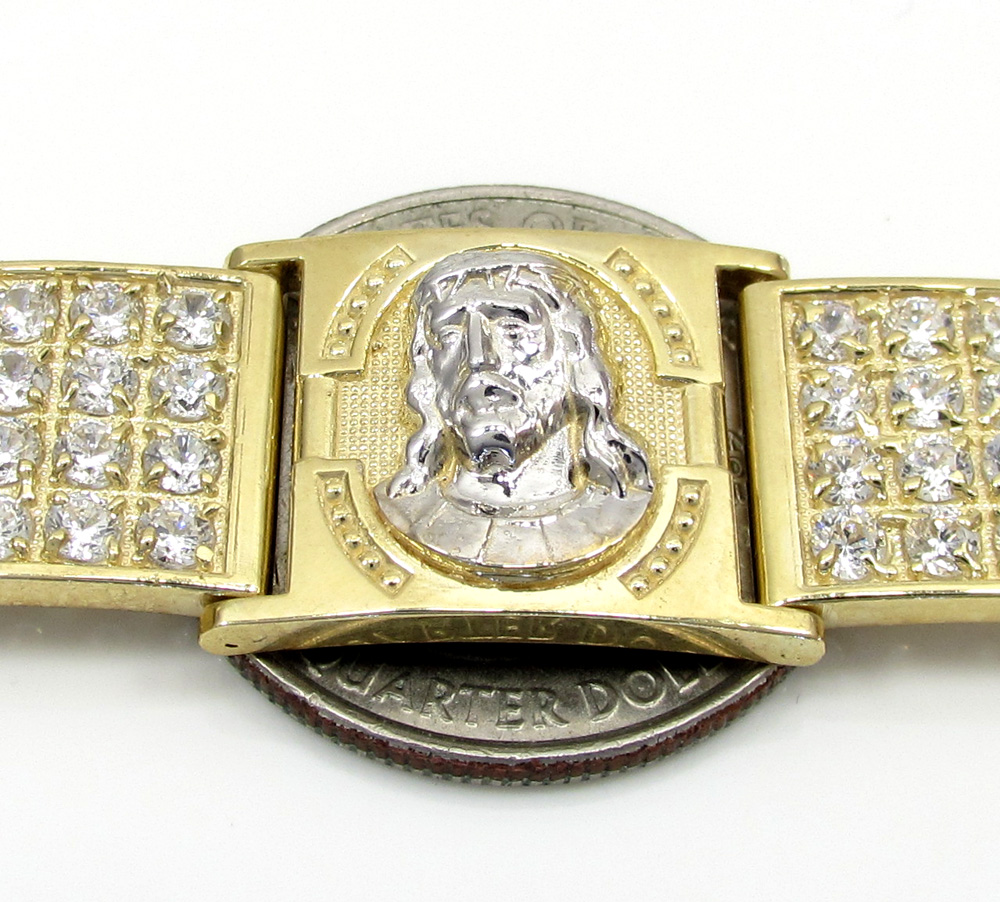10k yellow gold large 4x6 two tone cz jesus face bracelet 5.00ct