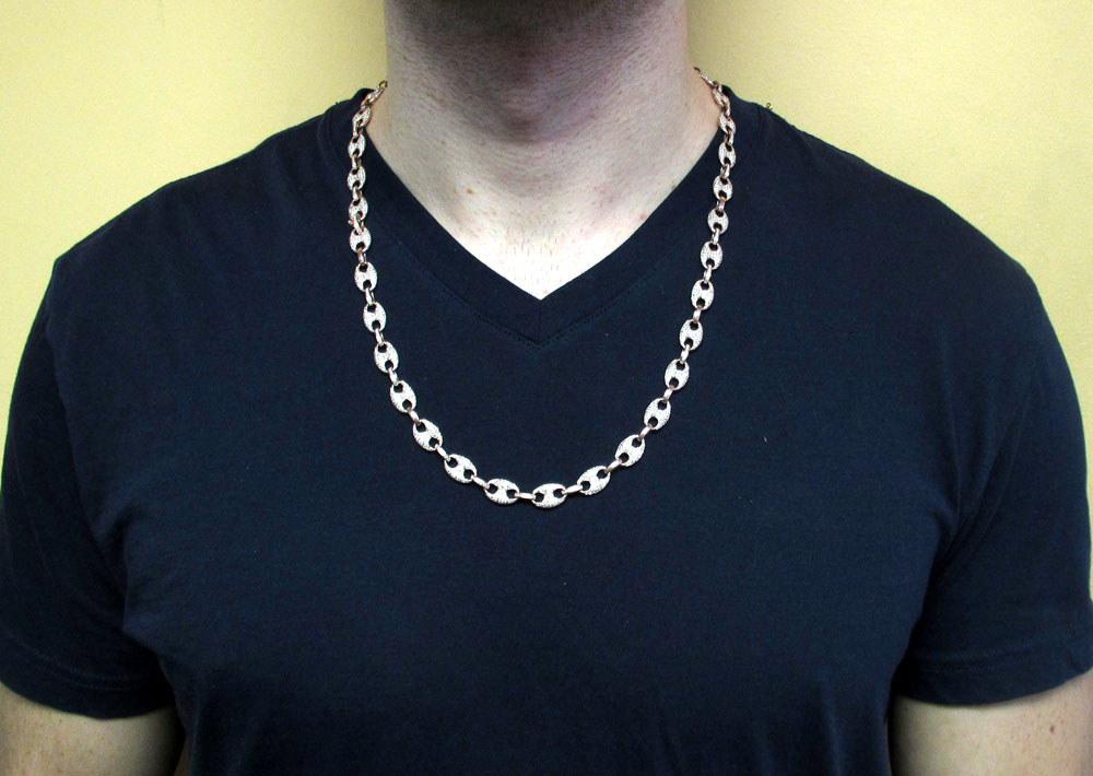 14k solid rose gold champagne diamonds gucci puff chain 24