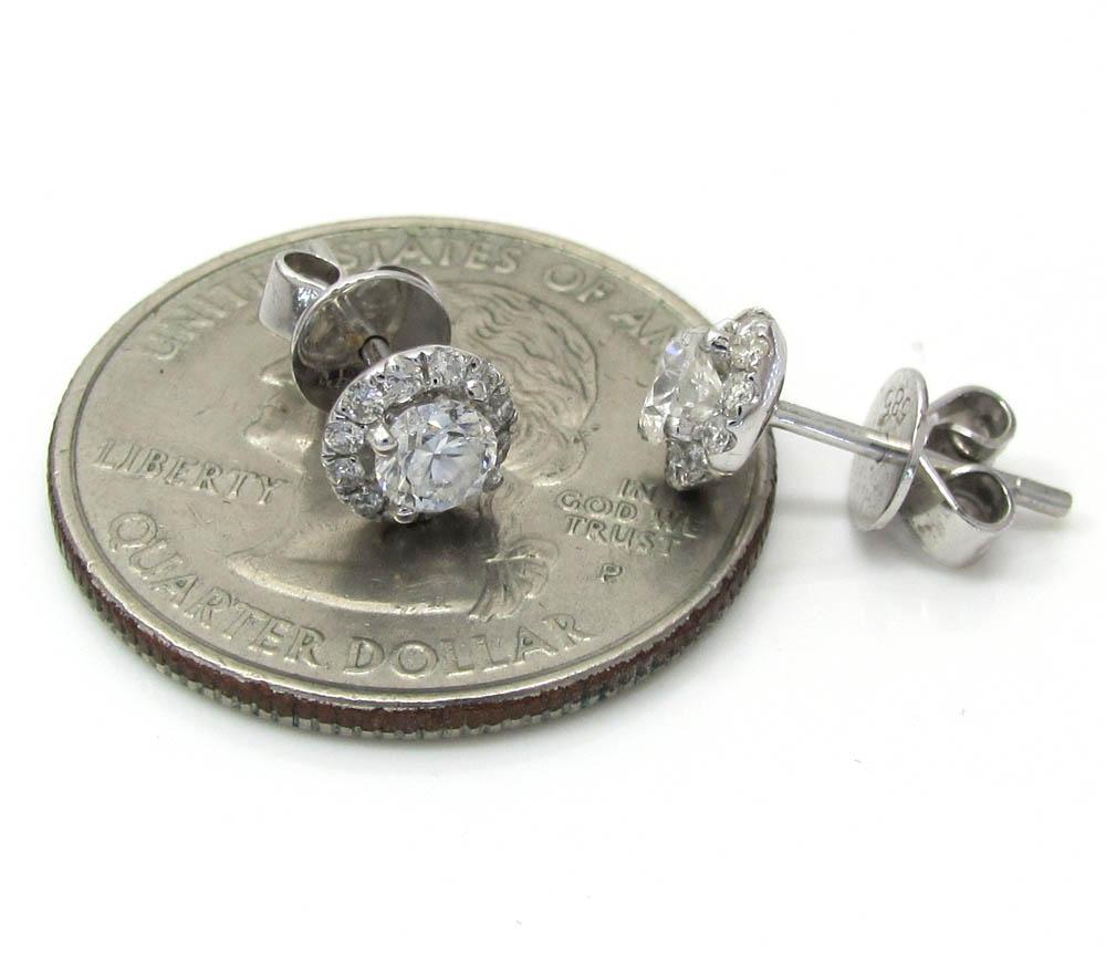 14k white gold diamond cluster earrings 0.75ct
