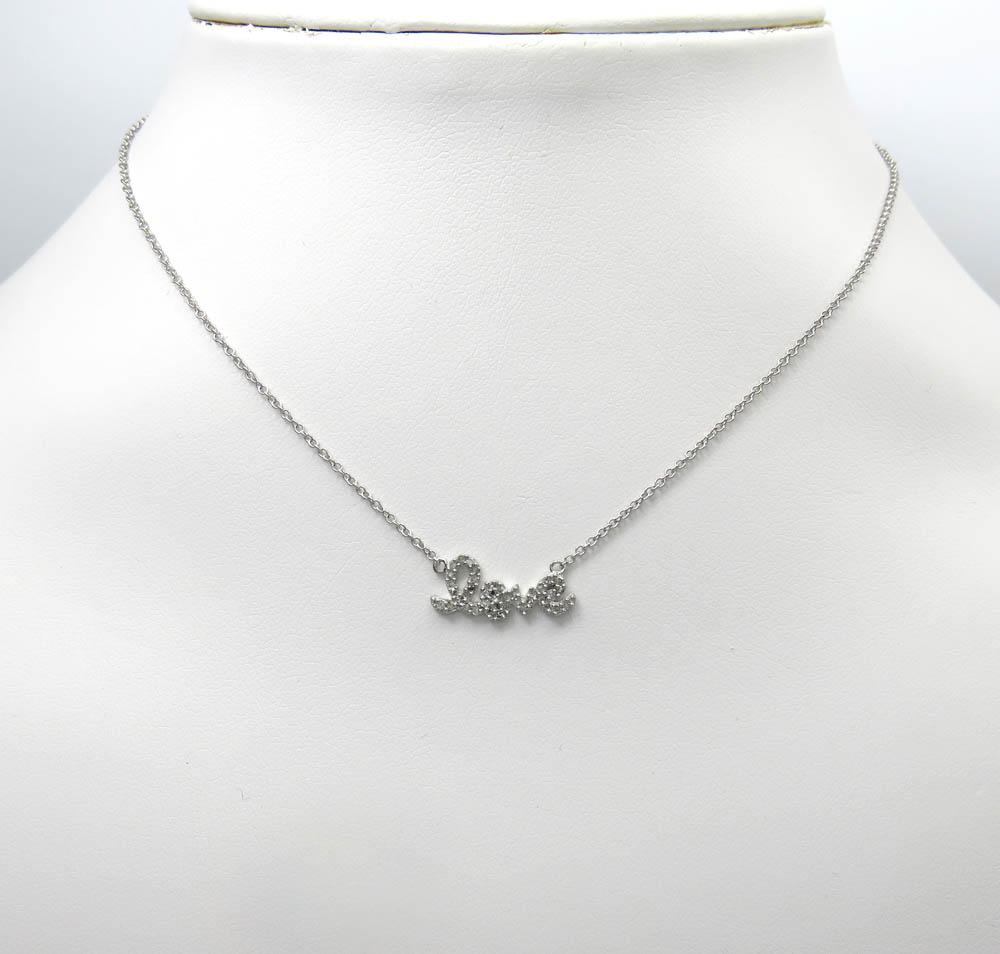 14k white gold diamond love pendant chain 16 inch 0.13ct