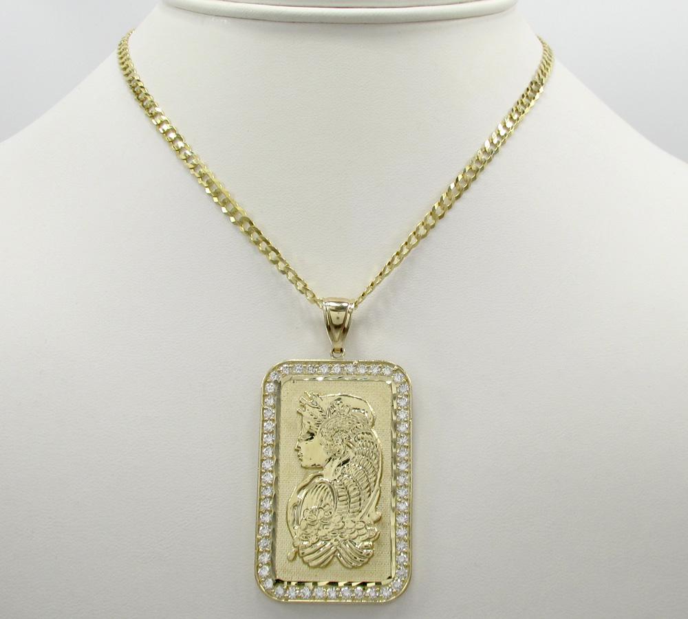 10k yellow gold gold bar large pendant 1.00ct