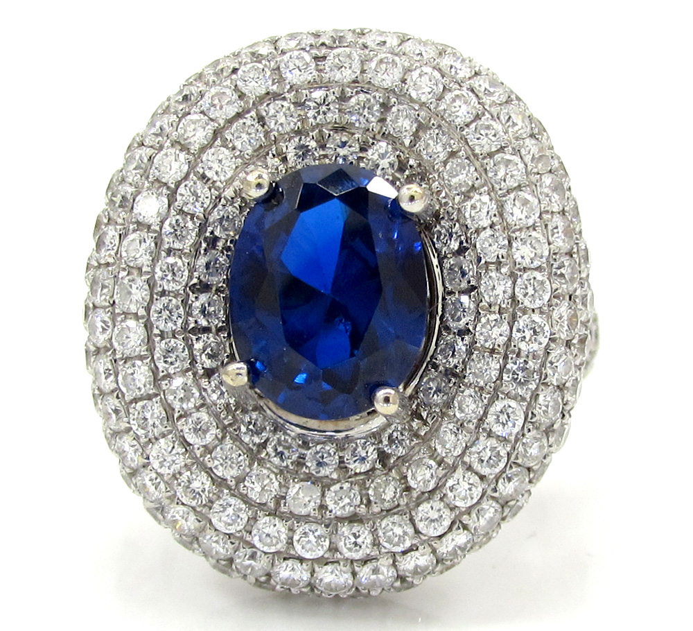 Ladies 18k white gold diamond sapphire cocktail ring 3.67ct