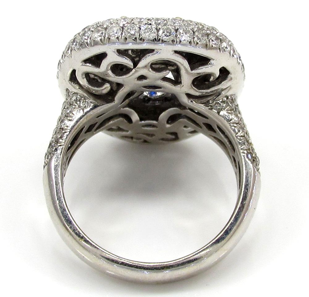 Ladies 18k white gold diamond sapphire cocktail ring 3.67ct