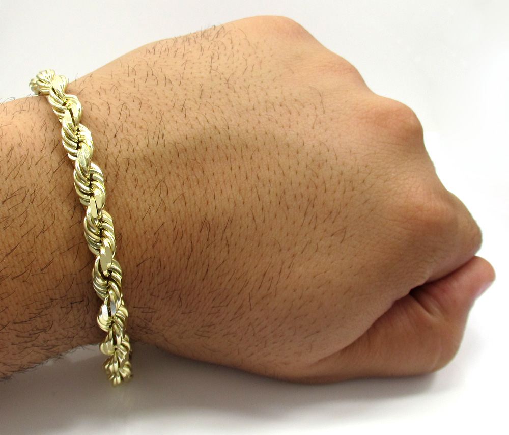 Mens 10k yellow gold solid diamond cut rope bracelet 9