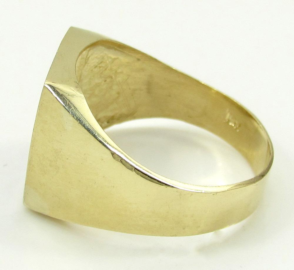 10k yellow gold blue enamel free mason g ring