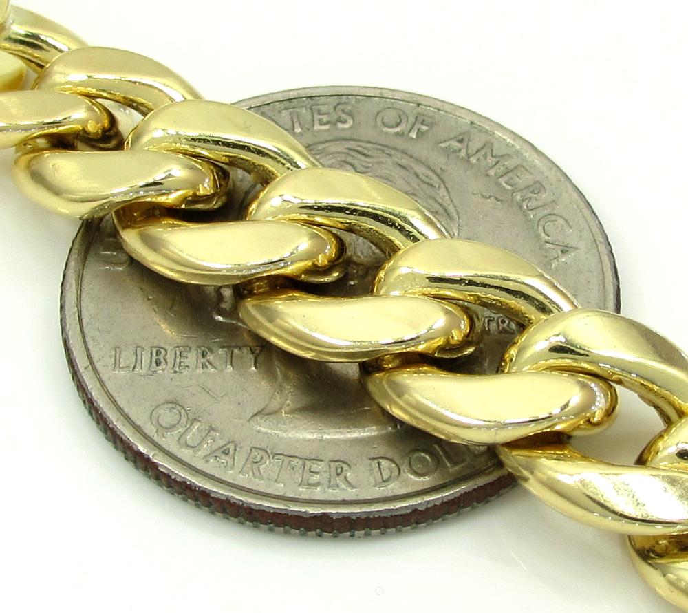 10k yellow gold miami id bracelet 8.50 inch 9.20mm