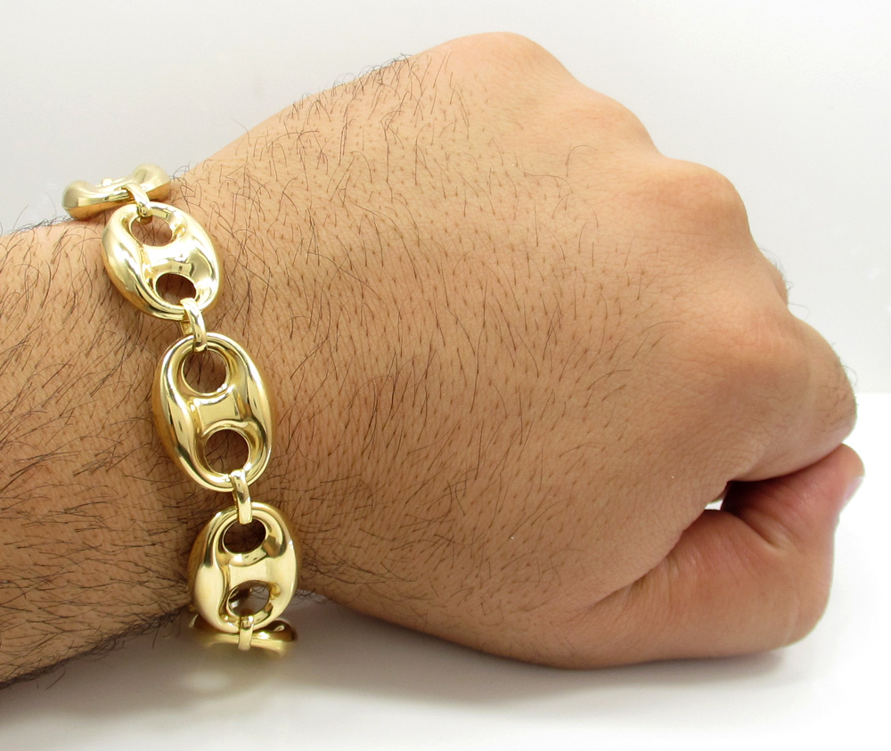 10k Yellow Gold Gucci Link Bracelet 9 25 Inch 18 80mm