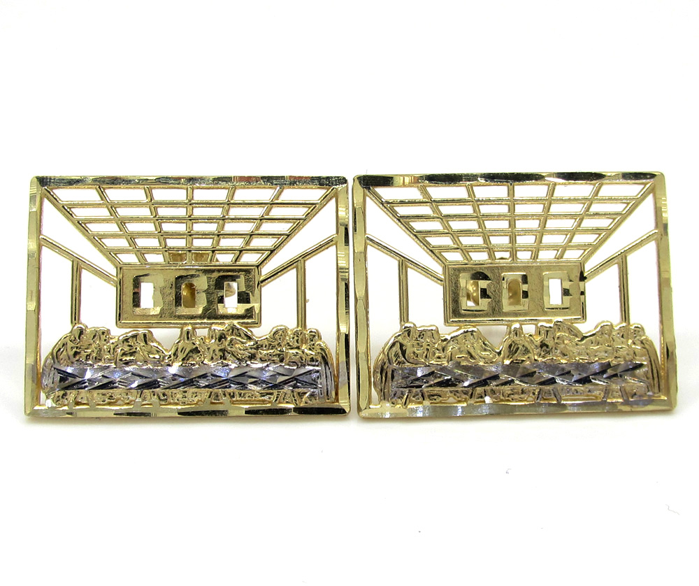 10k yellow gold two tone jesus apostles last supper cage earrings