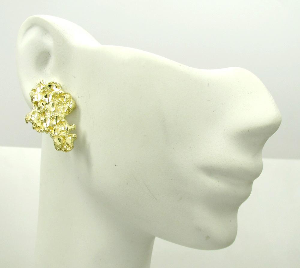 10k yellow gold diamond cut large nugget earrings