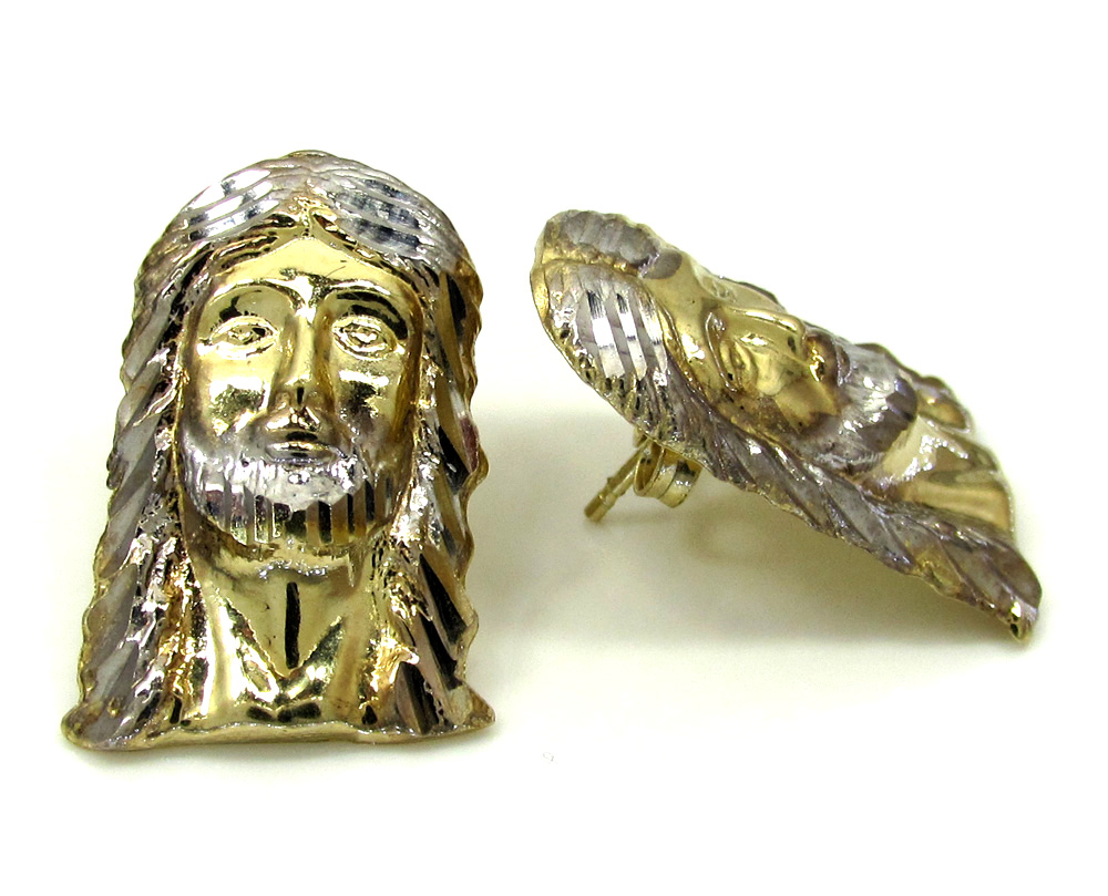 10k two tone gold diamond cut medium jesus head pendant