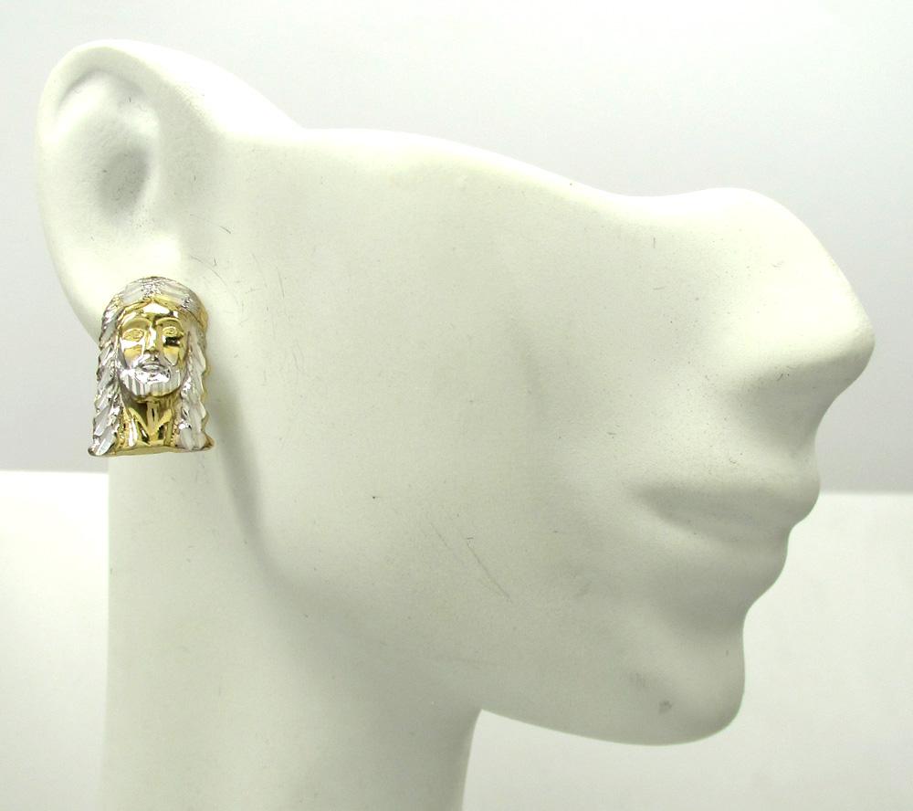 10k two tone gold diamond cut mini jesus head pendant