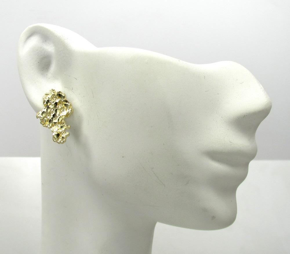 Yellow Gold Diamond Cut Small Nugget Earrings