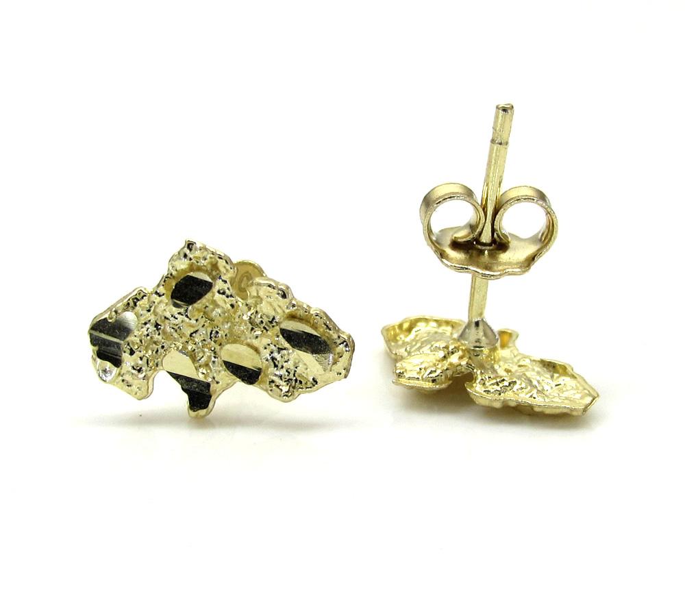 10k yellow gold diamond cut mini nugget earrings