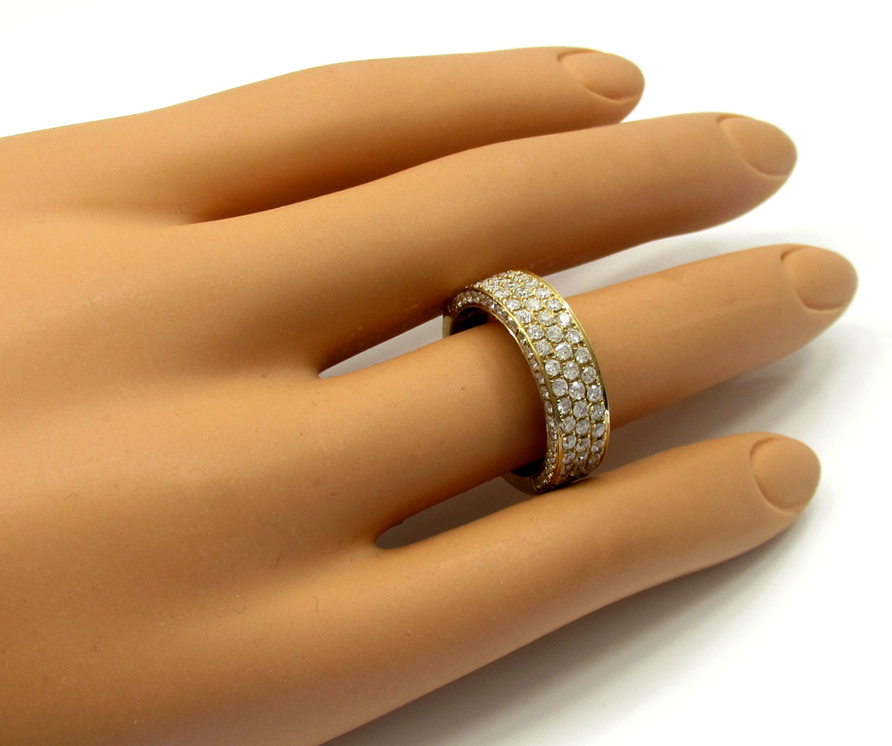 Mens 14k Yellow Gold Half Diamond Iced Out Wedding Band 1 50ct