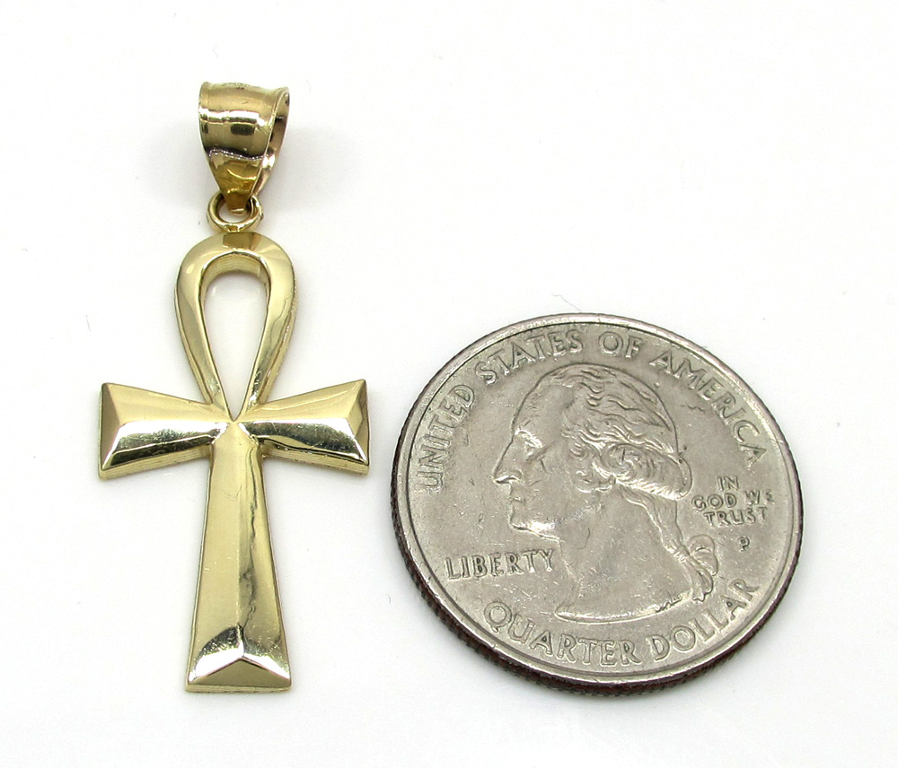 10k yellow gold ankh medium cross