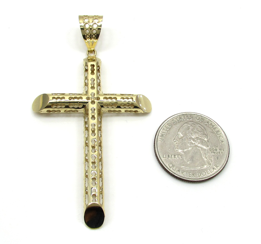 10k yellow gold medium carved out hollow tube cross