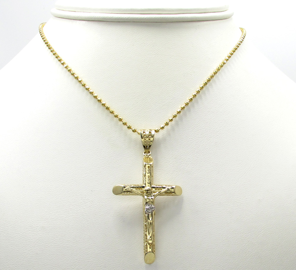 10k yellow gold small carved out hollow tube jesus cross