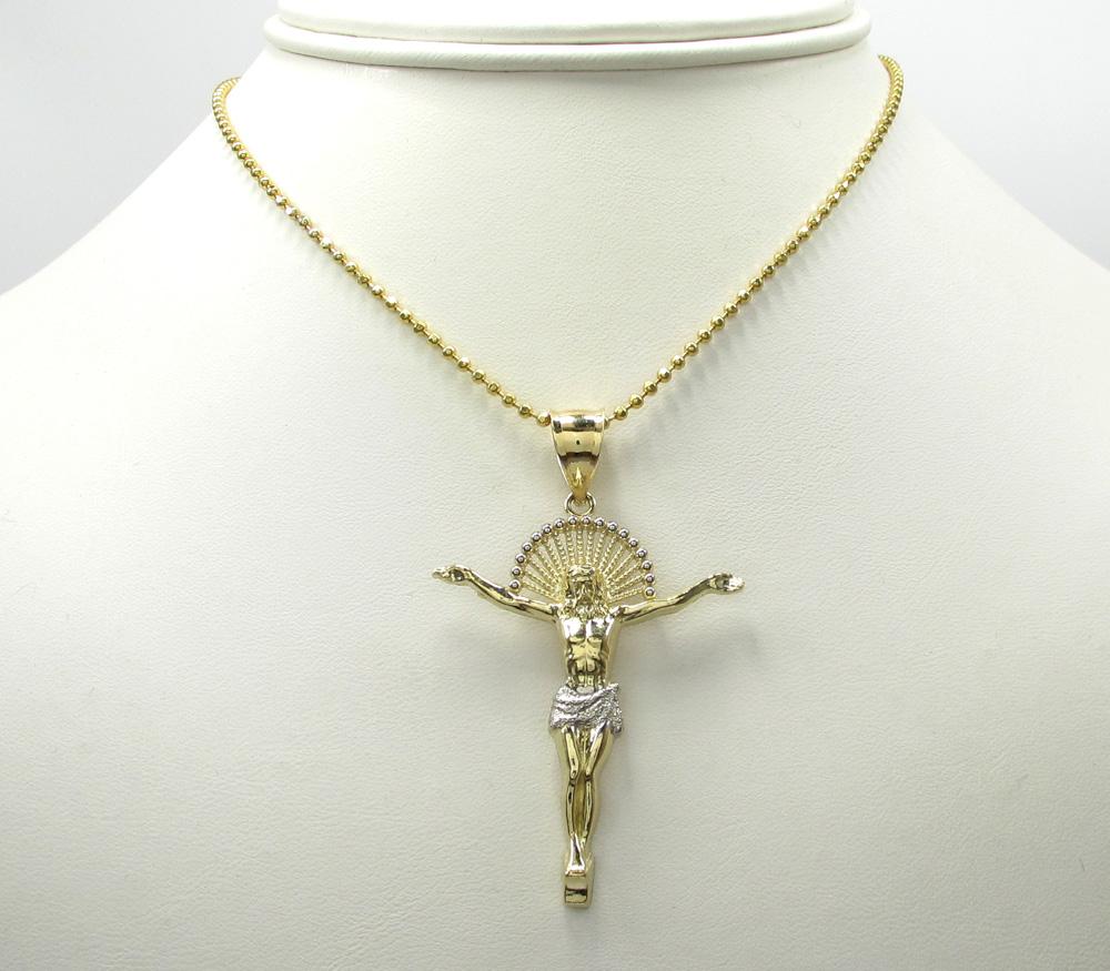 10k yellow gold hanging jesus large cross