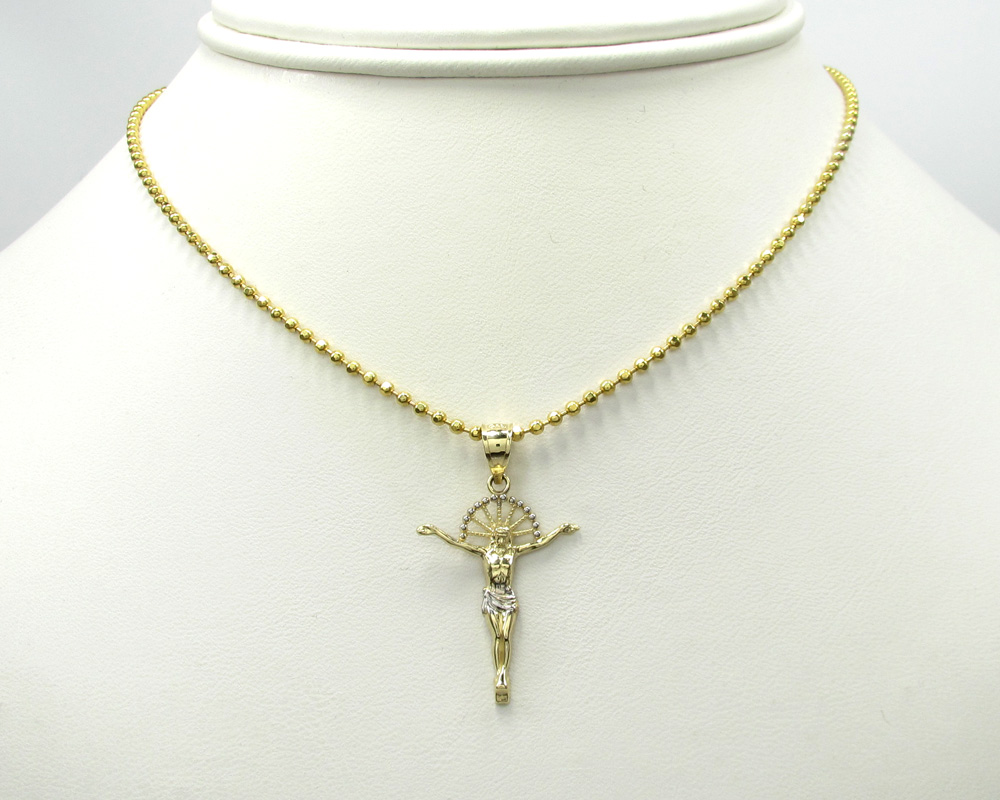 10k yellow gold hanging jesus small cross