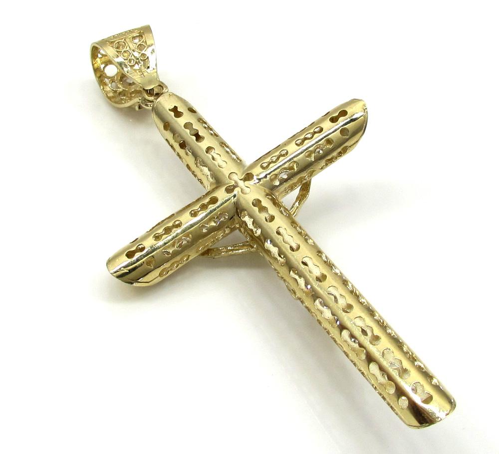 10k yellow gold cz medium jesus cross
