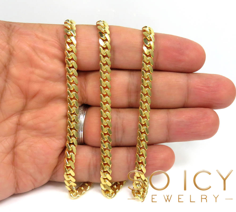 14k yellow gold solid miami link chain 20-32 inch 6mm
