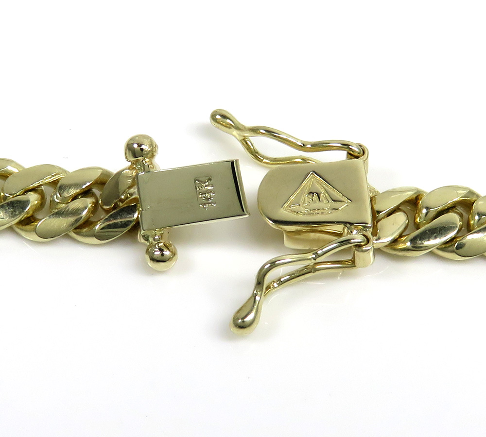 14k yellow gold solid miami link chain 22-32 inch 6.8mm