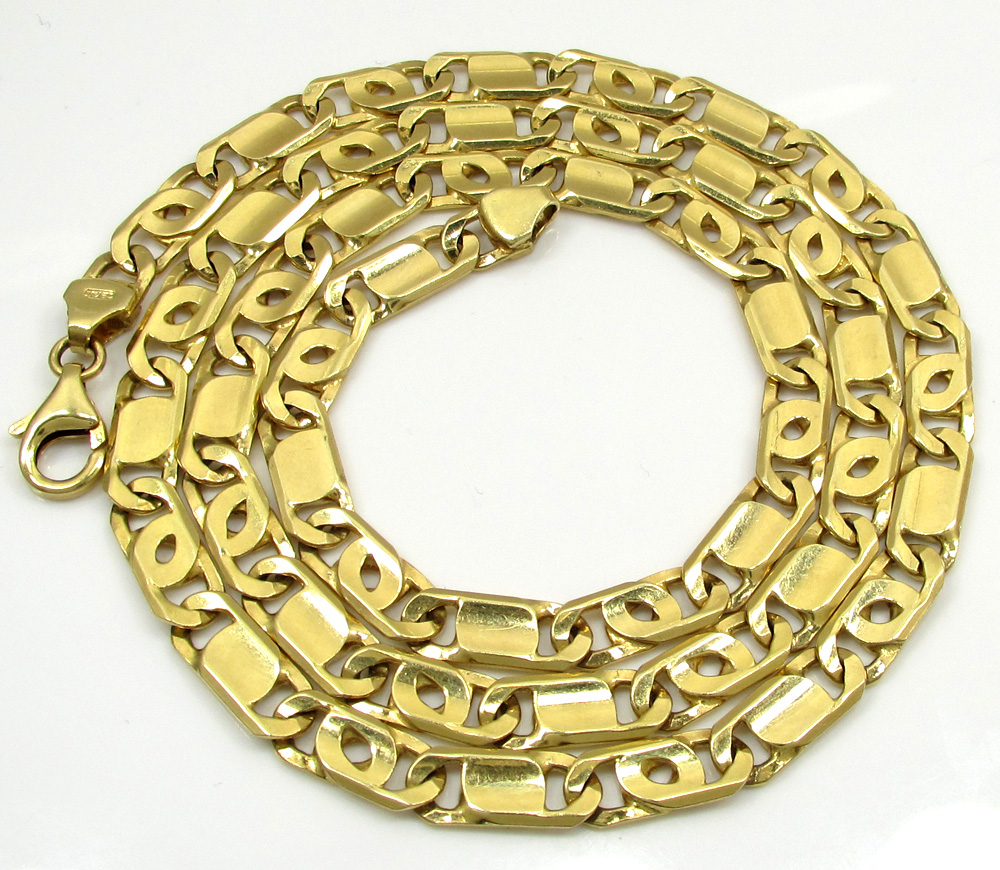 14k yellow gold solid tiger eye link chain 24 inch 6mm